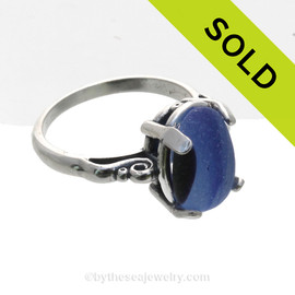Mixed Cross Sectioned Black and Blue Sea Glass Ring in a Solid Sterling Silver Scroll Setting. - Size 8 (Resizeable)