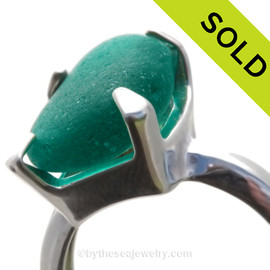 Vivid Long and large slice of Electric Teal or Turquoise in a 4 prong sterling silver ring. SOLD - Sorry this Sea Glass Ring is NO LONGER AVAILABLE!