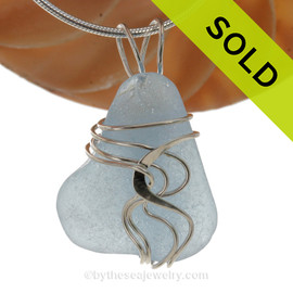 A stunning and LARGE Genuine Electric Aqua Sea Glass Pendant set in our Signature Waves© setting in Sterling Silver. SOLD - Sorry This Sea Glass Pendant is NO LONGER AVAILABLE!