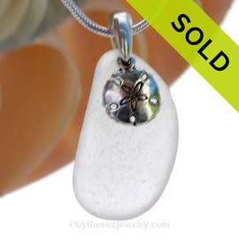 "Pure White Sea Glass Necklace with Sterling Silver Sandollar Charm - 18"" Solid Sterling Chain INCLUDED"
