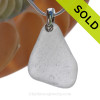 Pure White Sea Glass Necklace with Beach found sea glass on a sterling bail and Solid Sterling Silver Snake chain.