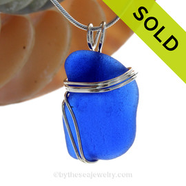 LARGE Squarish Cobalt Blue Sea Glass In Sterling Triple Wire Necklace Pendant