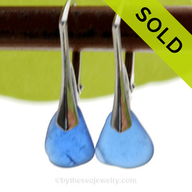 Small and Lightweight Genuine Cobalt Blue  Beach Found Sea Glass Earrings on Sterling Leverback Earrings. SOLD - Sorry these Sea Glass Earrings are NO LONGER AVAILABLE!