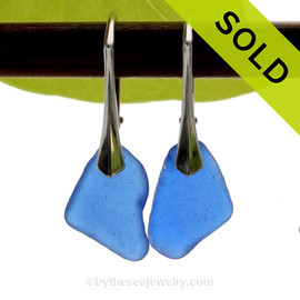 Genuine Rich Cobalt Blue  Beach Found Sea Glass Earrings on Sterling Leverback Earrings. SOLD - Sorry these Rare Sea Glass Earrings are NO LONGER AVAILABLE!