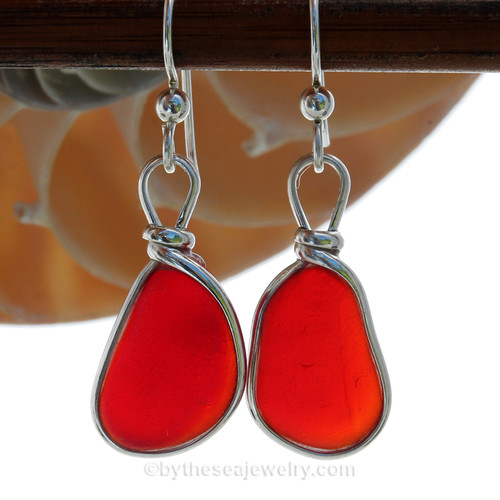 STUNNING LARGE and PERFECT Rare VIVID Red Genuine Sea Glass in our Original Wire Bezel© earring setting lets all the color of these beauties shine! A beautiful match of deep Vivid Red sea glass from England. Red is the hope diamond of sea glasses and this perfect pair is a treasure for any sea glass lover!