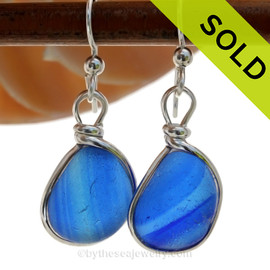 A great match in my English Multi Sea Glass Earrings in a vivid cross sectioned bright blue and dark blue. Much sea glass from this region is flashed, meaning color is only on on side, these pieces have color running from one side to the other. ULTRA ULTRA RARE!  SOLD - Sorry these Ultra Rare Sea Glass Earrings are NO LONGER AVAILABLE!