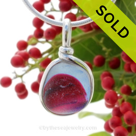 A vivid mix of hot pink andbaby blue in this endoday sea glass from England set in our Original Wire Bezel© necklace pendant setting. SOLD - Sorry this Rare Sea Glass Pendant is NO LONGER AVAILABLE!