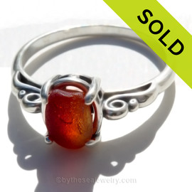 A stunning beautiful piece of vivid royal ruby red sea glass from set in a silver ring. SOLD - Sorry this Rare Sea Glass Ring is NO LONGER AVAILABLE!