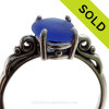 A stunning beautiful piece of vivid cobalt blue sea glass set in a silver ring scroll ring. SOLD - Sorry this Sea Glass Ring is NO LONGER AVAILABLE!