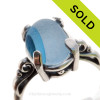 Gorgeous Mixed Blue Sea Glass Ring in a Solid Sterling Silver Scroll setting. \SOLD - Sorry this Sea Glass Ring is NO LONGER AVAILABLE!