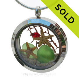 Beachy Christmas- Green Sea Glass With Two Real Starfish, Red Gem & Real Sand Locket.
