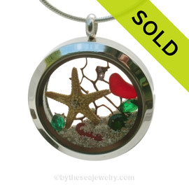 Coastal Holly -  Rare Red Sea Glass With a real Starfish, Holly Green Gems & Real beach Sand Locket