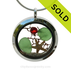 Green sea glass and a real starfish, a bit of vintage sea fan and beach sand make this a great locket necklace for the holidays. Ruby Red  & Emerald Green crystal gems finish the locket with some extra bling. SOLD - Sorry this Sea Glass Jewelry Selection is NO LONGER AVAILABLE!