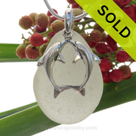 "Beautiful Kissing Dolphins Sterling Silver Necklace with Pale Green Sea Glass - 18"" STERLING CHAIN INCLUDED. SOLD - Sorry this Sea Glass Necklace is NO LONGER AVAILABLE!"