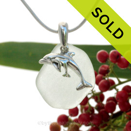 "Mother and Baby Dolphins Sterling Silver Necklace with Whitish Green Sea Glass - 18"" STERLING CHAIN INCLUDED SOLD - Sorry this Sea Glass Necklace is NO LONGER AVAILABLE!"