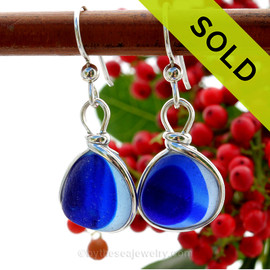 Blue Echo - ULTRA RARE  Vivid Mixed Blue Sterling English Multi Sea Glass Earrings In Sterling Original Wire Bezel©