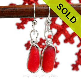 Long and Lightweight P-E-R-F-E-C-T Vivid Red Genuine Sea Glass Earrings In Sterling Silver Wire Bezel©