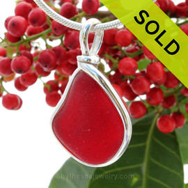 PERFECT VIVID Rare Genuine Cherry Red Sea Glass In Original Wire Bezel© Sterling Silver