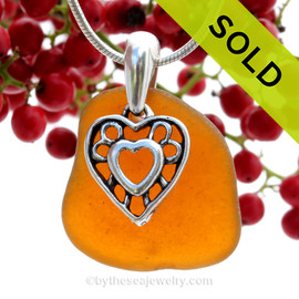 Glowing Amber Sea Glass Necklace with a solid sterling silver Hearts in Hearts charm and Solid Sterling Silver Snake chain. SOLD - Sorry this Sea Glass Necklace is NO LONGER AVAILABLE!