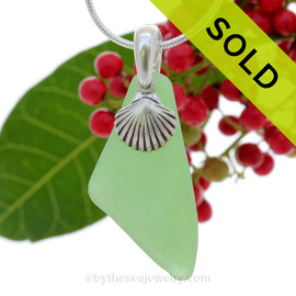 "Thinner Green Genuine Sea Glass Necklace with Sterling Silver Shell Charm - 18"" Solid Sterling Chain INCLUDED"