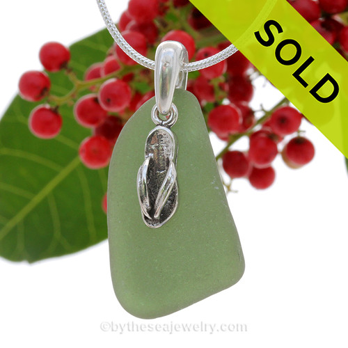 Green Genuine Sea Glass Necklace with Beach found sea glass and solid sterling flip flop charm and Solid Sterling Silver Snake chain. SOLD - Sorry this Sea Glass Necklace is NO LONGER AVAILABLE!