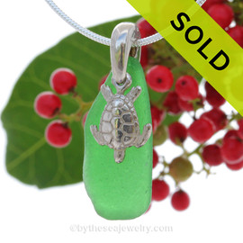 Saturated Vivid Green Genuine Sea Glass Necklace with Beach found sea glass and solid sterling Turtle and Solid Sterling Silver Snake chain. SOLD - Sorry this Sea Glass Necklace is NO LONGER AVAILABLE!
