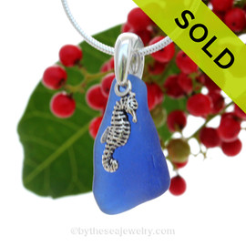 "Lovely Curvy Cobalt Blue Sea Glass With Sterling Silver Seahorse Charm - 18"" STERLING CHAIN INCLUDED SOLD - Sorry this Sea Glass Necklace is NO LONGER AVAILABLE!"