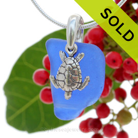 "Curvy Cobalt Blue Sea Glass With Sterling Silver Sea Turtle Charm - 18"" STERLING CHAIN INCLUDED"