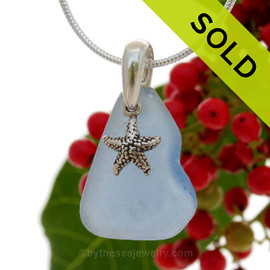 "Lovely Nice piece of Carolina Blue Sea Glass With Sterling Silver Sea Star Charm - 18"" STERLING CHAIN INCLUDED. SOLD - Sorry this Sea Glass Necklace is NO LONGER AVAILABLE!"
