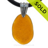 Vivid Amber Brown Natural Sea Glass Necklace Set On Silver Bail With 3MM Black Neoprene Cord