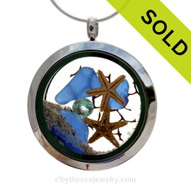 Genuine Cobalt Blue sea glass pieces combined with a two small real starfish and a bit of seafan combined with crystal aqua gem stainless steel locket. SOLD - Sorry this Sea Glass Jewelry Selection is NO LONGER AVAILABLE!
