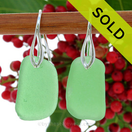 Larger Squarish Green Genuine Sea Glass Earrings On Silver Silver Deco Hooks