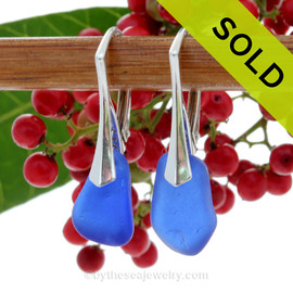 Vivid and Lightweight Genuine Cobalt Blue  Beach Found Sea Glass Earrings on Sterling Leverback Earrings. SOLD - Sorry these Rare Sea Glass Earrings are NO LONGER AVAILABLE!
