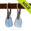 Gorgeous Genuine Carolina  Blue  Beach Found Sea Glass Earrings on Sterling Leverback Earrings. SOLD - Sorry these Rare Sea Glass Earrings are NO LONGER AVAILABLE