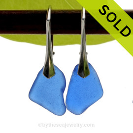 Vivid and Lightweight Genuine Cobalt Blue  Beach Found Sea Glass Earrings on Sterling Leverback Earrings.