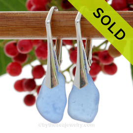 Carolina Blue Beach Found Sea Glass Earrings on Sterling Leverback Earrings. Blue sea glass becomes increasing as each wave passes. Shaped only by tide and time and UNALTERED from the way it was found on the beach