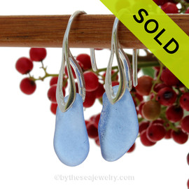 Carolina Blue Beach Found Sea Glass Earrings on Sterling Deco Earrings. Blue sea glass becomes increasing as each wave passes. Shaped only by tide and time and UNALTERED from the way it was found on the beach