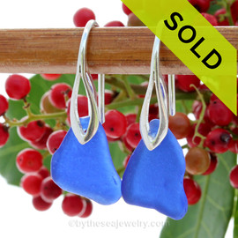 Dark Blue Sea Glass Earrings On Silver Silver Deco Hook