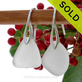 Pure Snow White Genuine Sea Glass Earrings On Silver Silver Deco Hooks
