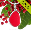 A Stunning and PERFECT Vivid Red Sea Glass Pendant set in our signature Original Wire Bezel© pendant setting.  This setting leaves both front and back open and you will find yourself often feeling it's wonderful natural texture. SOLD - Sorry this Rare Sea Glass Pendant is NO LONGER AVAILABLE!