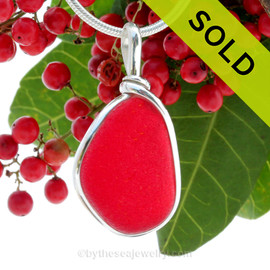 P-E-R-F-E-C-T Vivid Red Rare Genuine Sea Glass In Original Wire Bezel© Sterling Silver