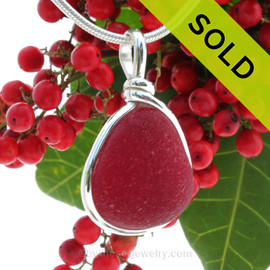 P-E-R-F-E-C-T Thick Cherry Red Rare Genuine Sea Glass In Original Wire Bezel© Sterling Silver