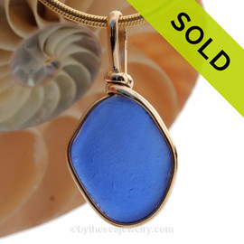This is a beautiful thick piece of sea glass where one side is thicker than another. Looks to have been the bottom of an old blue jar, maybe Noxzema. SOLD - Sorry this Rare Sea Glass Pendant is NO LONGER AVAILABLE!