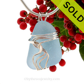 A stunning and LARGE PERFECT Genuine Electric Aqua Sea Glass Pendant set in our Signature Waves© setting in Sterling Silver.