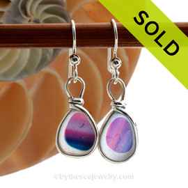 Sea Art - SUPER ULTRA RARE Petite English Art Sea Glass Earrings In Original Sterling Silver Original Wire Bezel©