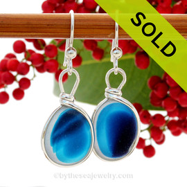 SUPER ULTRA RARE  - LARGE Mixed Vivid Blue Sterling English Multi Sea Glass Earrings In Sterling Original Wire Bezel©