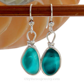 SUPER ULTRA RARE  - LARGE Mixed Vivid Teal Sterling English Multi Sea Glass Earrings In Sterling Original Wire Bezel©