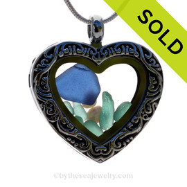 Blue and Aqua Sea Glass & Pearls Economy Heart Locket Reversible Necklace
