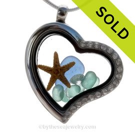 Blingy Blue and Aqua Sea Glass & Pearls Economy Heart Locket Necklace with CZ's