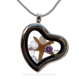 Beautiful pieces of Genuine Purple Mini Sea Glass combined with a Real Starfish, Fresh Water Pearls and a brilliant Amethyst Crystal Gem.